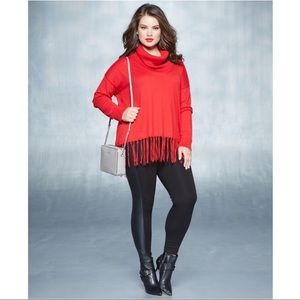 Michael Kors Red Fringe Cowl Neck Holiday Sweater